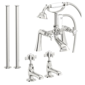 Hampshire Basin Tap and Bath Shower Mixer with Standpipe Pack