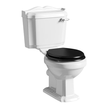 The Bath Co. Winchester close coupled toilet with painted wood seat black with pan connector
