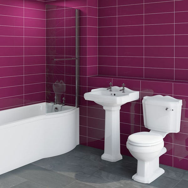 Winchester bathroom suite with right handed Evesham P shaped shower bath 1675 x 850