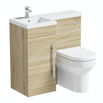 Orchard MySpace oak left handed unit with Oakley back to wall toilet