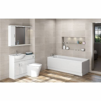 Sienna Arte suite with single ended straight bath 1700 x 700