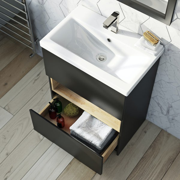 Mode Tate anthracite & oak vanity unit 600mm with mirror