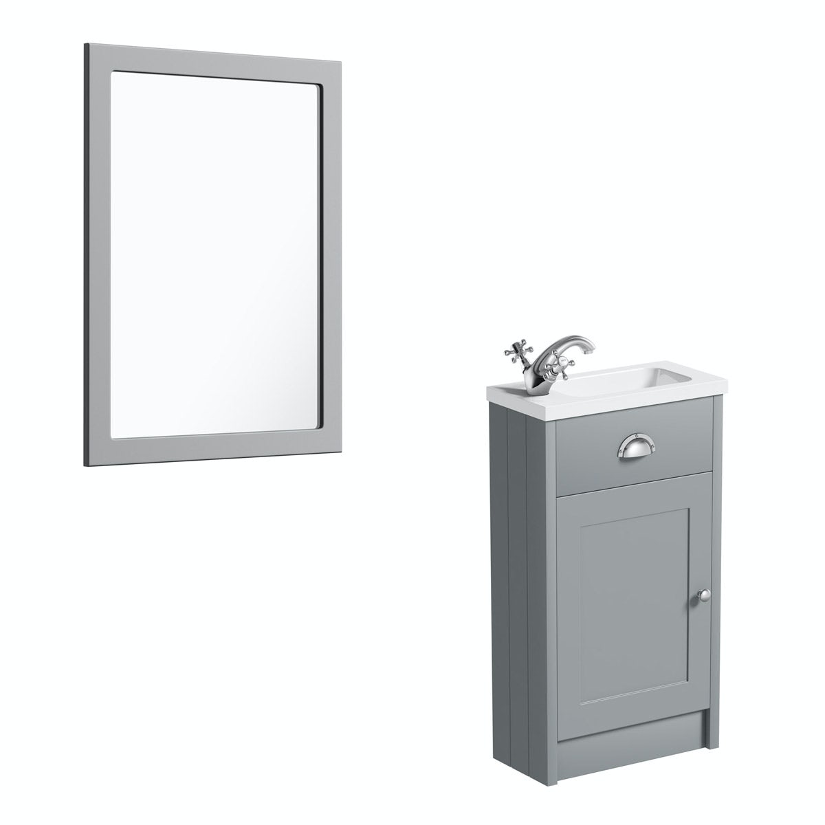 The Bath Co. Dulwich stone grey cloakroom vanity unit and mirror 600mm