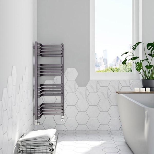 Terma Incorner modern grey heated towel rail 1005 x 350