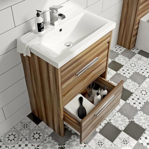 Clarity walnut vanity drawer unit with basin 600mm