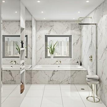 Multipanel Linda Barker Calacatta Marble unlipped shower wall panel 2400 x 1200