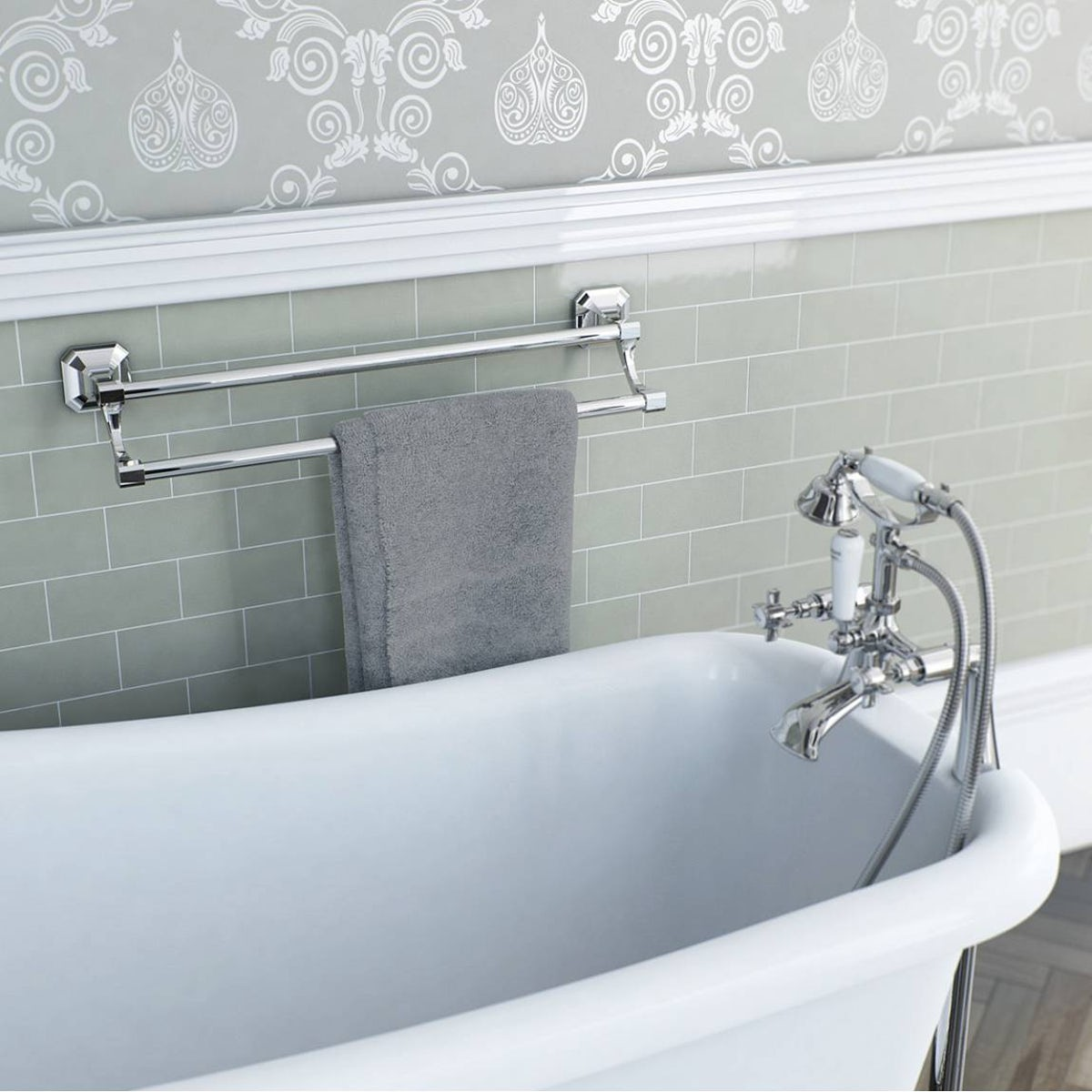 The bath co camberley double towel rail for Double towel rails for bathrooms