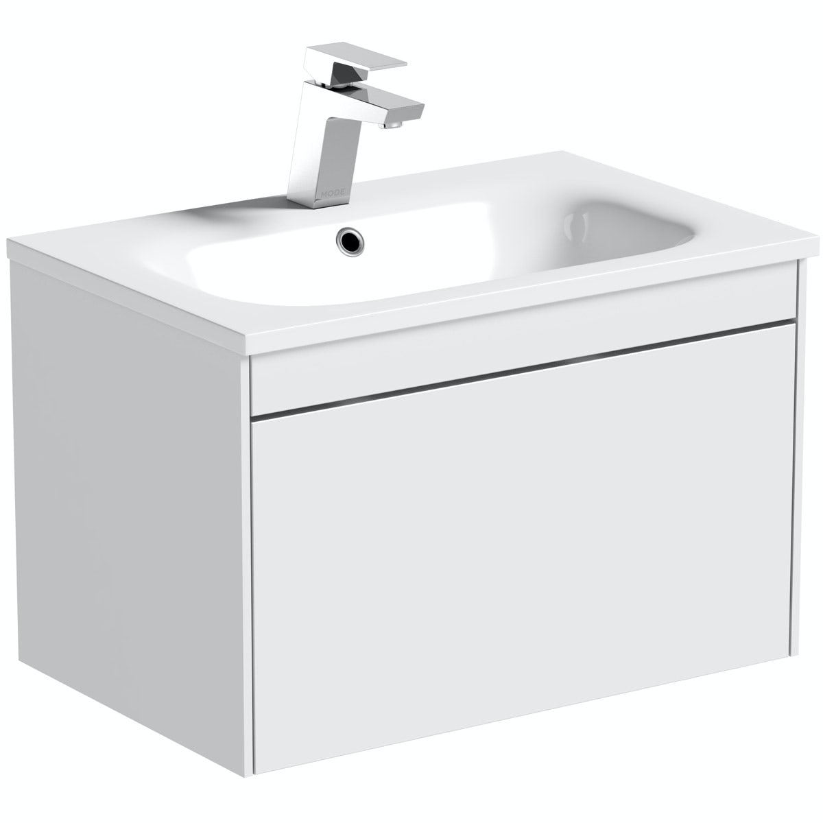 Mode Austin white wall mounted unit and stone basin 600mm