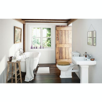 The Bath Co. Dulwich traditional oak bathroom suite and roll top bath