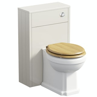 The Bath Co. Dulwich ivory slimline back to wall unit and toilet with oak effect seat