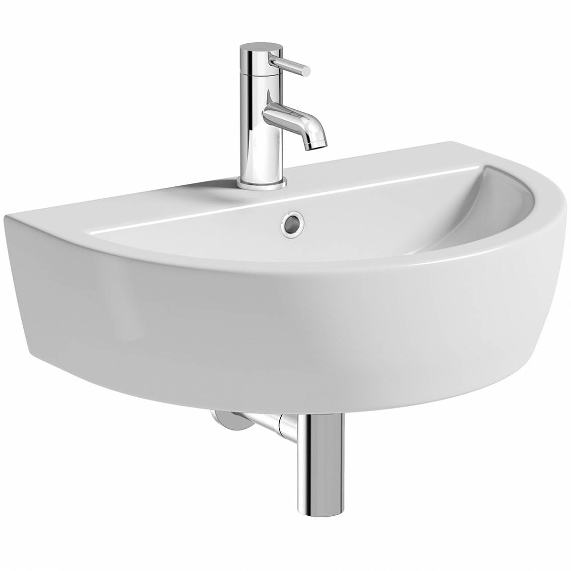 Mode Tate 1 tap hole wall hung basin 550mm with waste