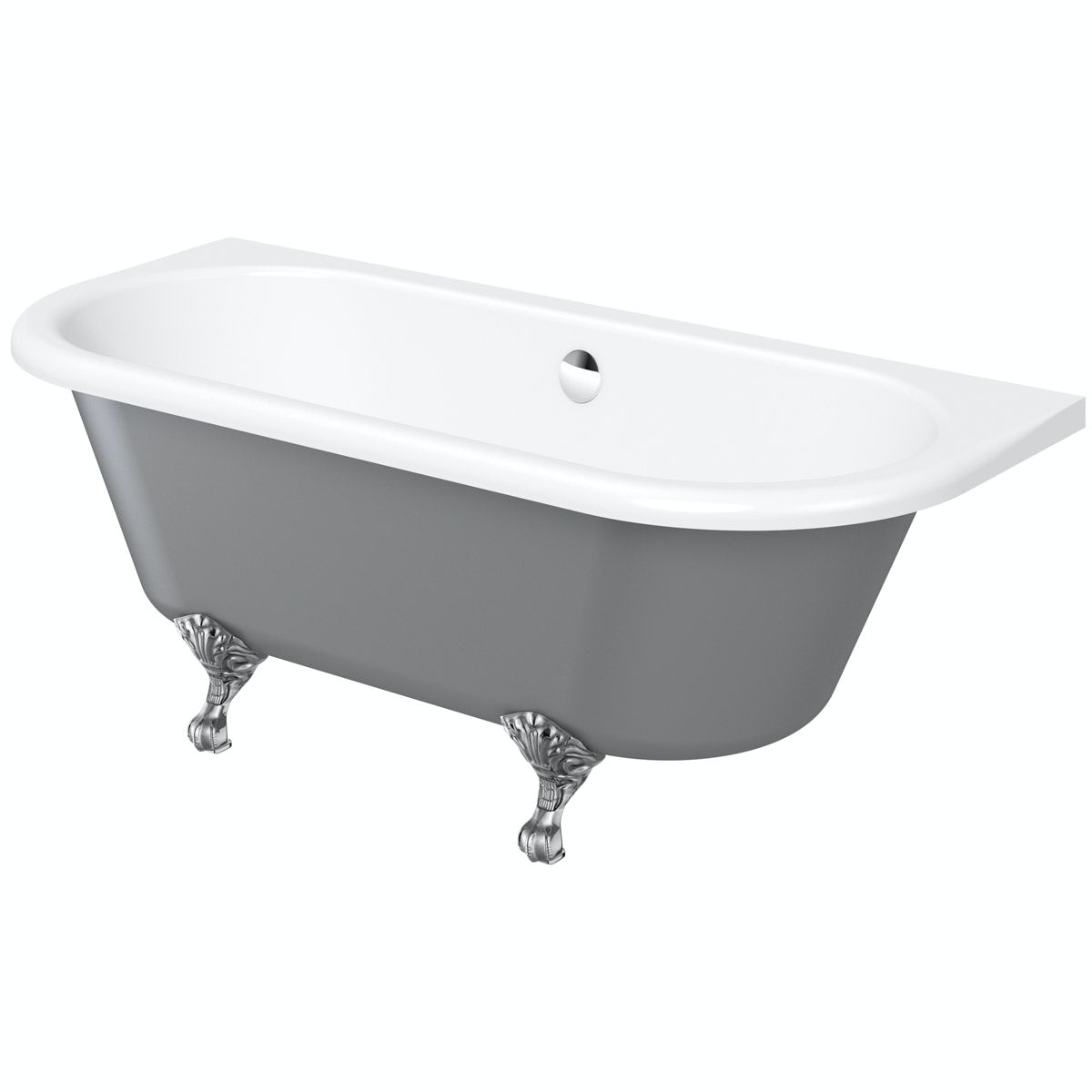 The Bath Co. Dulwich iron grey back to wall roll top bath with chrome ball and claw feet 1700 x 750
