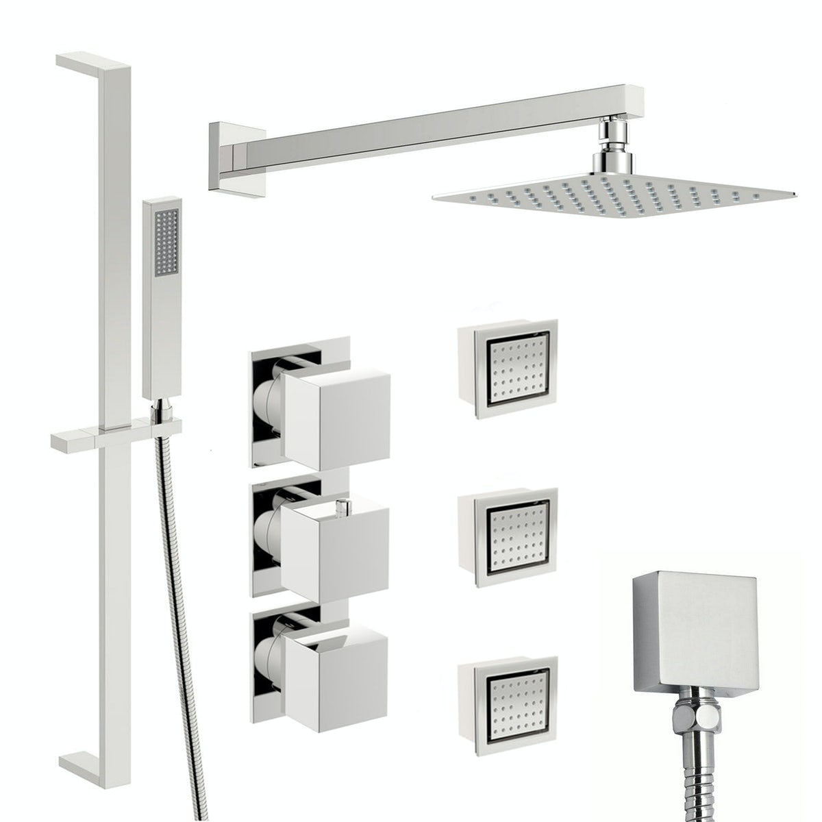 Mode Cooper thermostatic shower valve with complete wall shower set