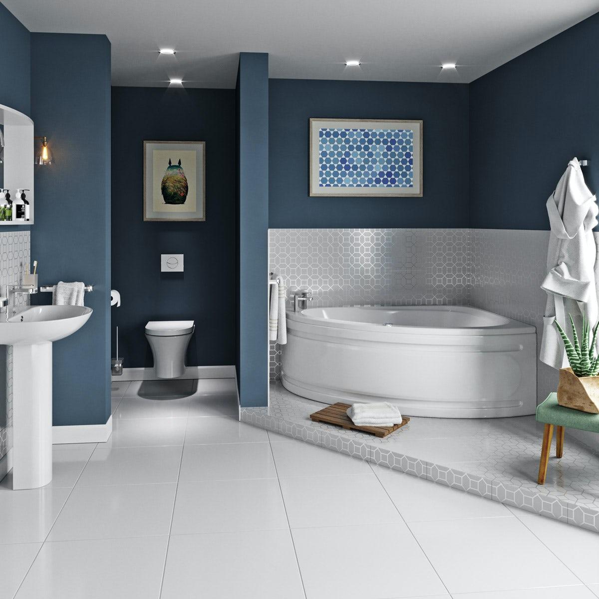 Mode Camden complete right handed whirlpool corner bath suite