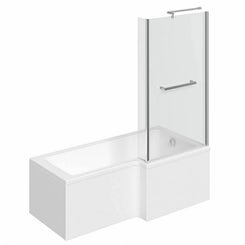 Boston right handed L shaped shower bath 1700mm with 6mm shower screen and rail