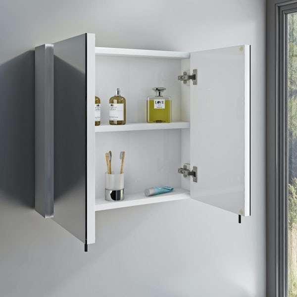 Orchard Emperor white steel mirror cabinet 600 x 550mm