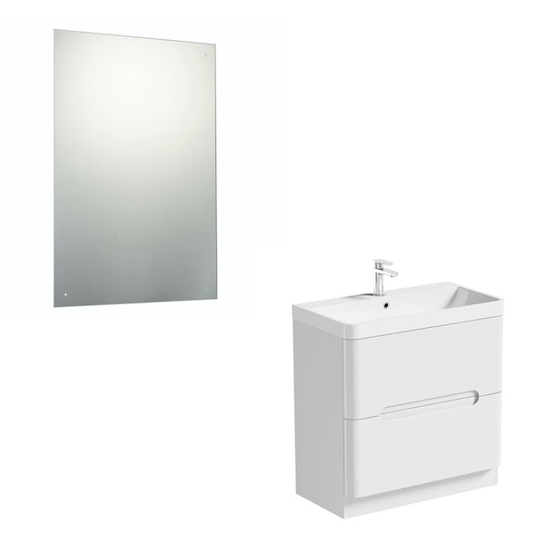 Mode Ellis white vanity drawer unit 800mm and mirror offer