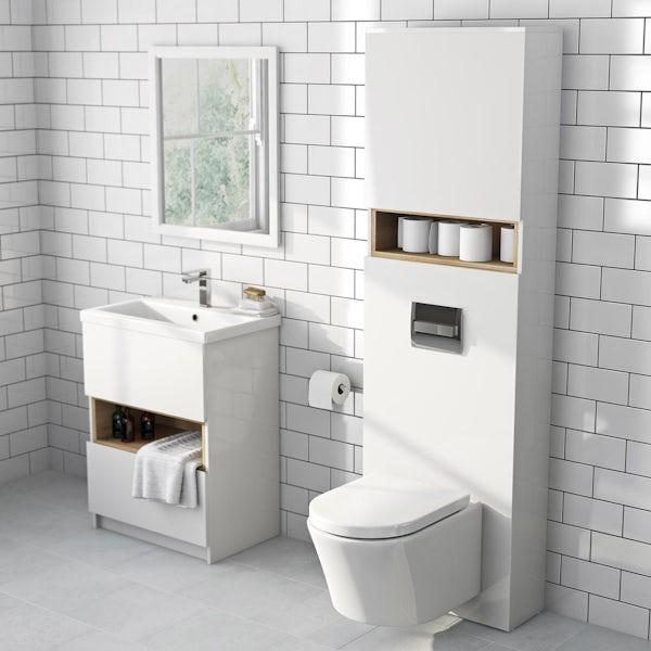 Tate white & oak tall toilet unit
