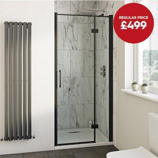 Mode Cooper black hinged easy clean shower door