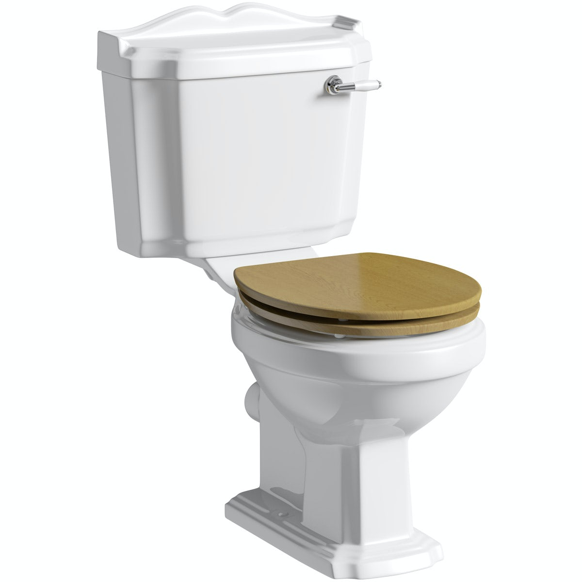 The Bath Co. Winchester close coupled toilet with solid oak seat with pan connector
