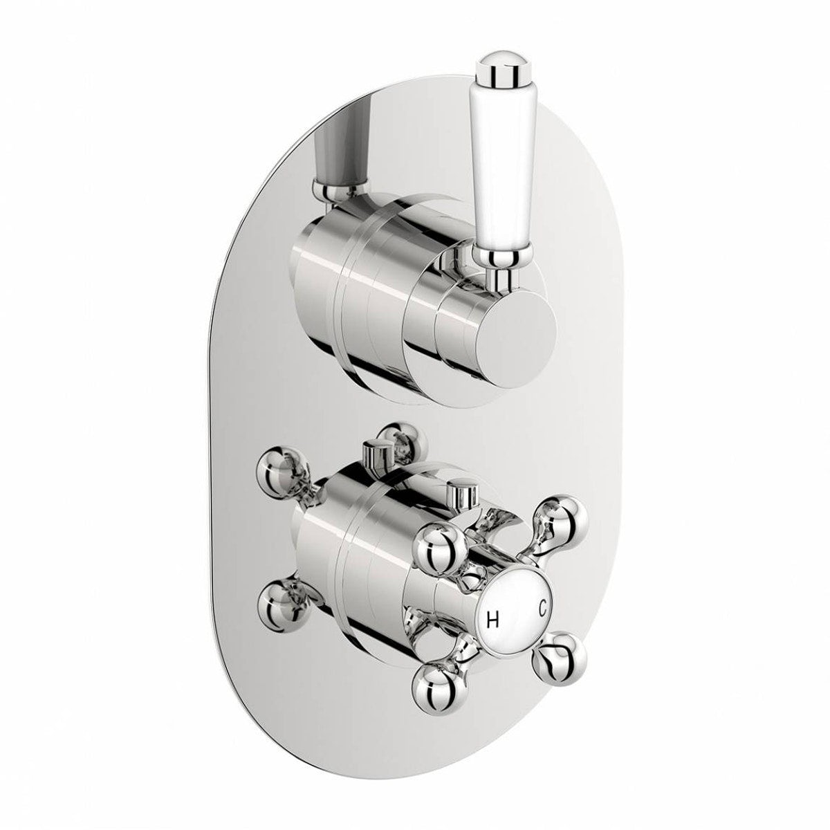 The Bath Co. Traditional oval twin thermostatic shower valve with diverter