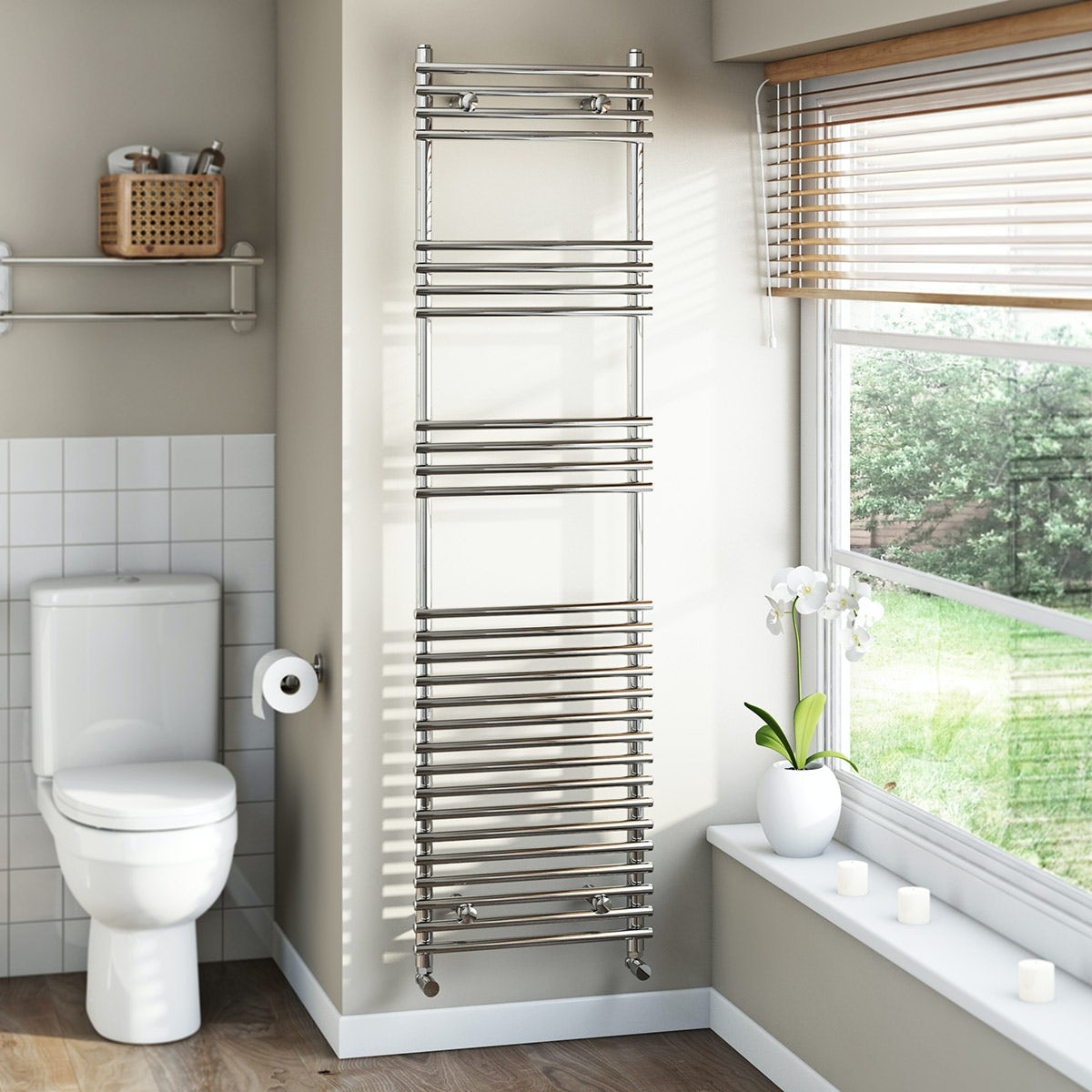 Tubular Heated Towel Rail 1650 x 450