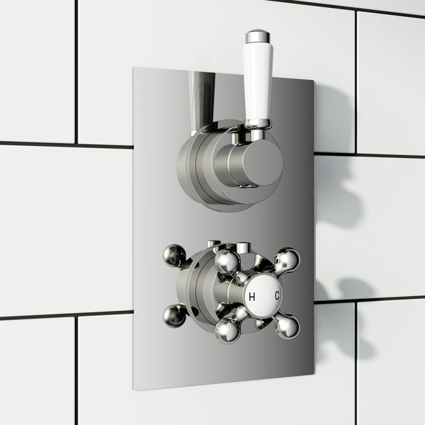 Traditional square twin thermostatic shower valve