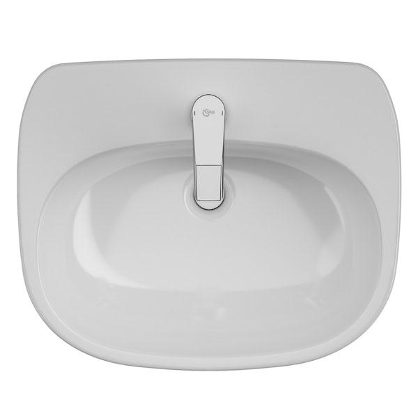 Ideal Standard Tesi 1 tap hole semi recessed counter top basin 550mm