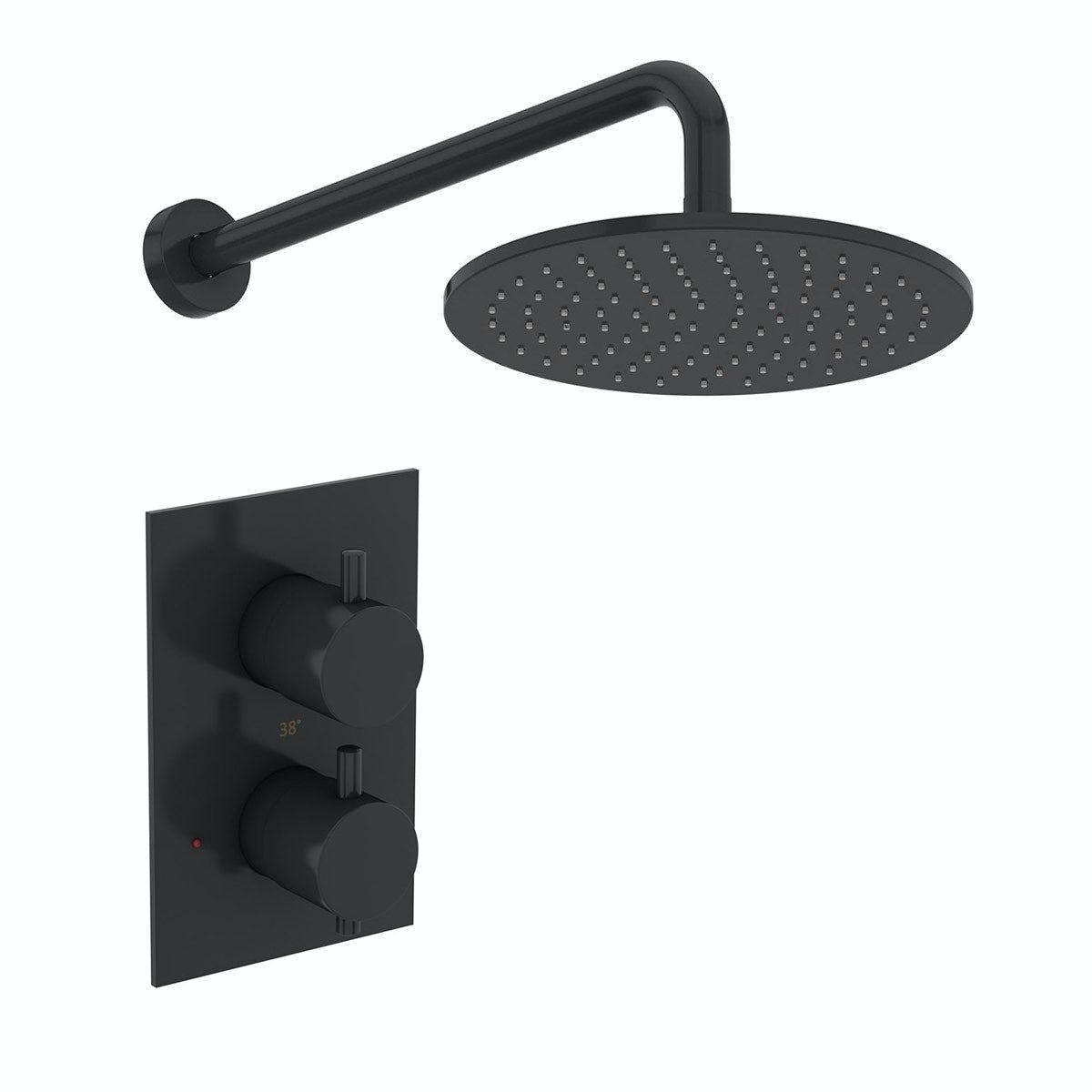 Mode Spencer round thermostatic twin valve matt black shower set