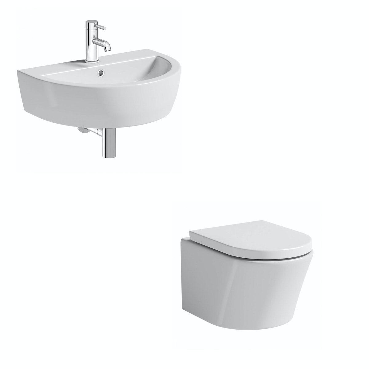 Mode Tate cloakroom suite with contemporary wall hung basin 550mm