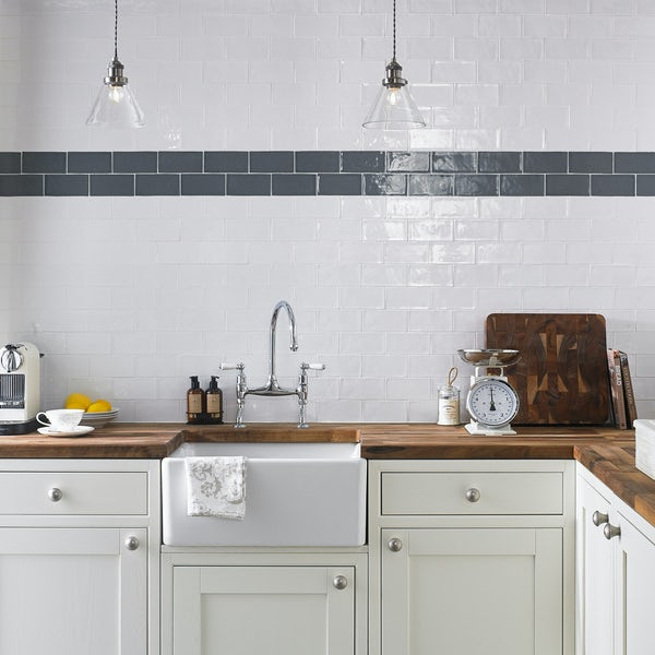 Laura Ashley Artisan charcoal grey gloss wall tile 75mm x 150mm