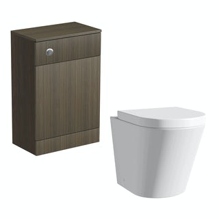 Wye Walnut back to wall toilet unit with Arte back to wall toilet