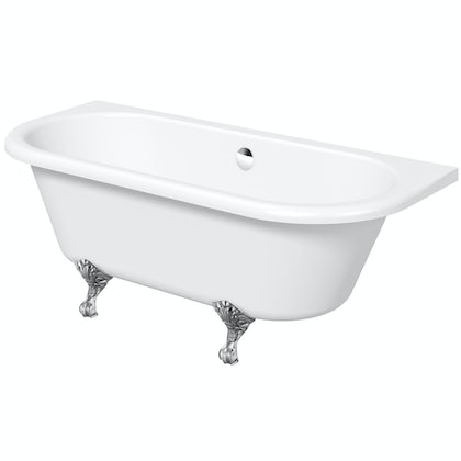 The Bath Co. Dulwich back to wall roll top bath with chrome ball and claw feet 1700 x 750
