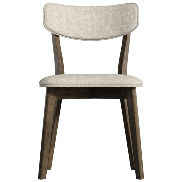 Harrison Walnut and Beige Pair of Dining Chairs