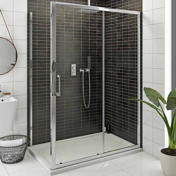 SmarTap white smart shower system with Mode 8mm framed shower enclosure