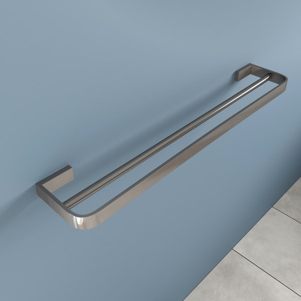 Mode Spencer brushed nickel double towel rail 600mm