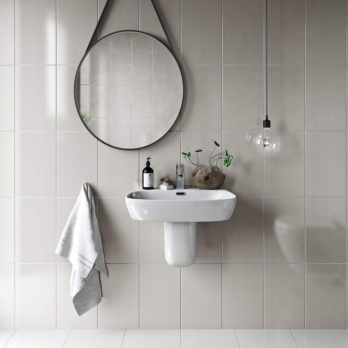British Ceramic Tile Linear sand beige gloss tile 248mm x 398mm