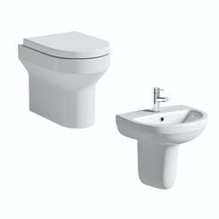 Oakley back to wall toilet suite with semi pedestal basin 500mm
