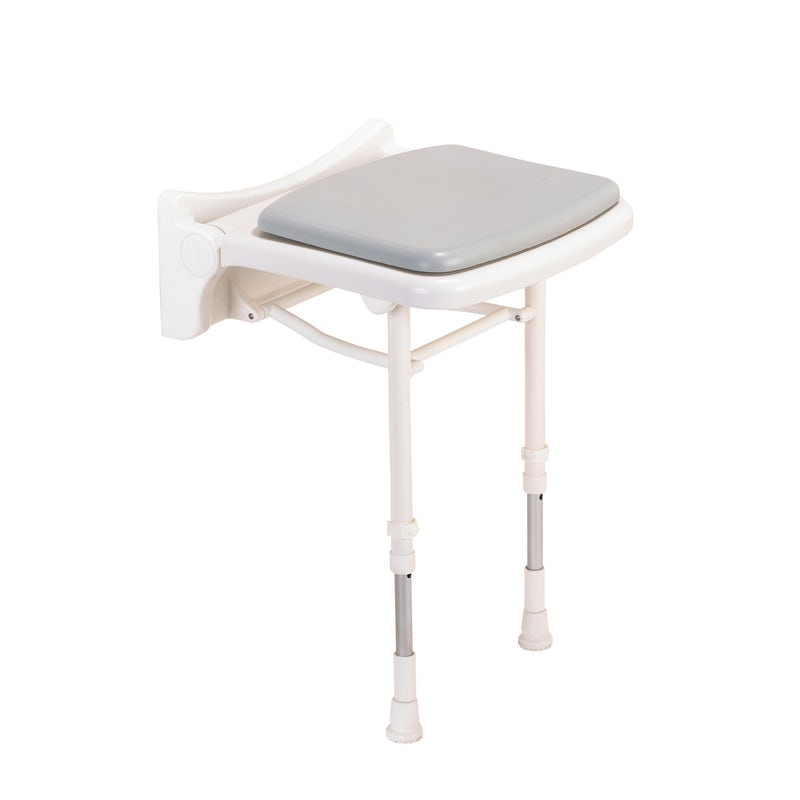 AKW 2000 series compact folding shower seat with grey pad