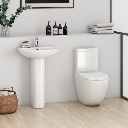 Mode Harrison rimless cloakroom suite with full pedestal basin 555mm with tap and waste