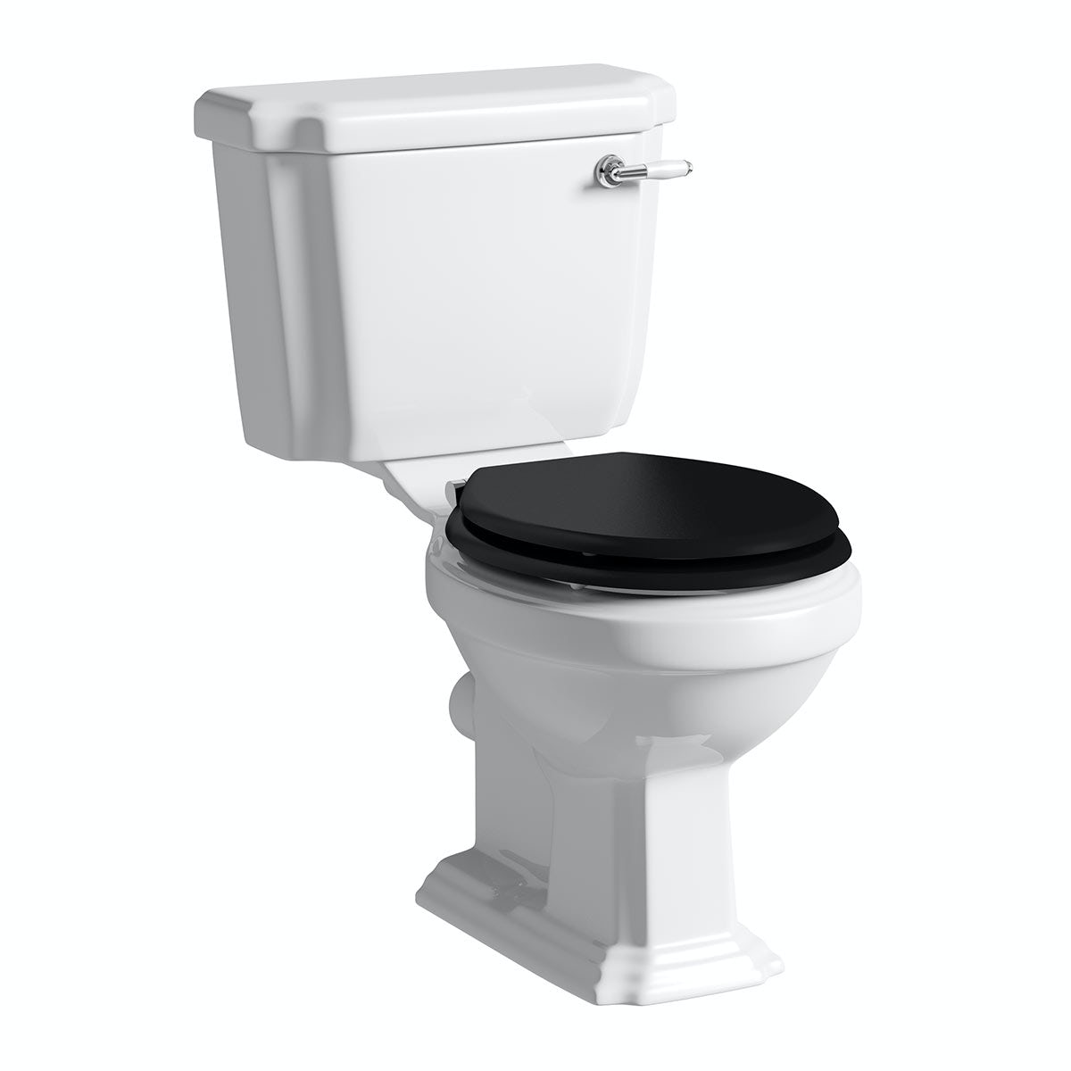 The Bath Co. Dulwich close coupled toilet with wooden toilet seat black with pan connector