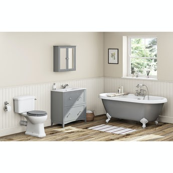 The Bath Co. Camberley grey furniture suite with freestanding bath