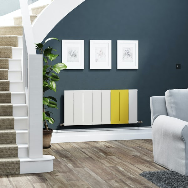 Terma Neo soft white and zinc yellow horizontal radiator 545 x 1200