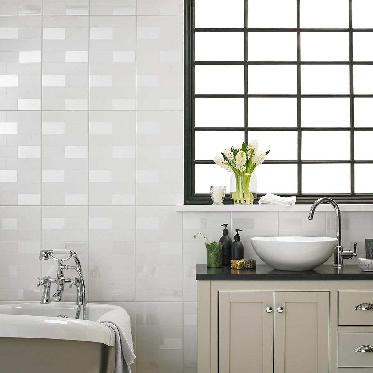 Laura ashley bathroom tiles - New Laura Ashley Highgate Gloss White Wall Tile 248mm X 498mm