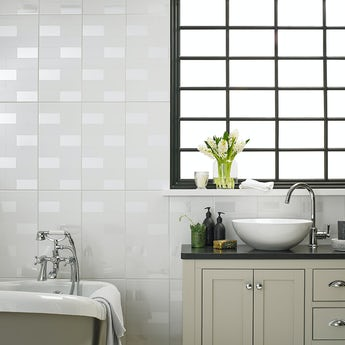 Laura Ashley white highgate gloss wall tile 248mm x 498mm