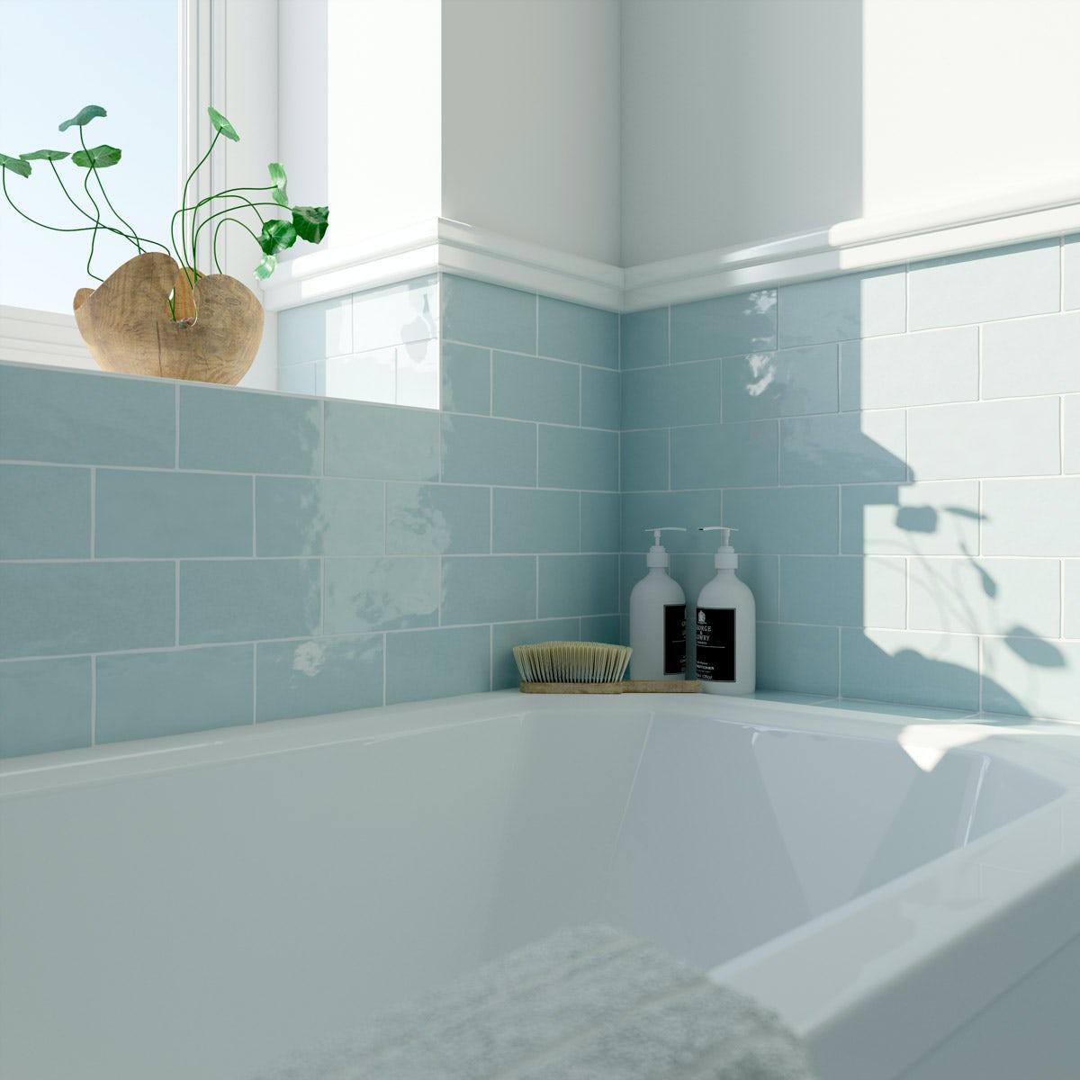 Laura Ashley Artisan duck egg blue gloss wall tile 75mm x 150mm