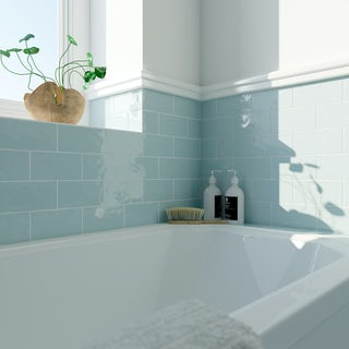 Laura Ashley Artisan duck egg blue wall tile 75mm x 150mm