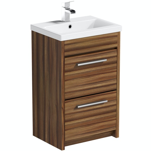Clarity walnut vanity drawer unit with basin 500mm
