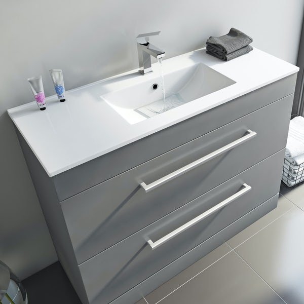 Orchard Derwent grey vanity drawer unit and basin 1000mm