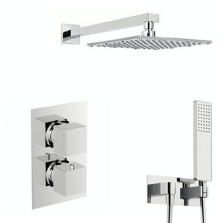 Spa Square Thermostatic Twin Shower Valve with Diverter and Slider Rail Set